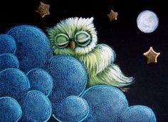 Art: TINY BABY GREEN OWL SLEEPING IN THE CLOUD by Artist Cyra R. Cancel