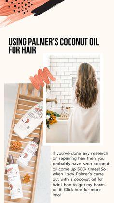 Using Palmer's Coconut Oil For Hair — Amanda Warren - Hair Loss Treatment Hair Care Recipes, Hair Care Tips, Hair Direct, Organic Beauty, Organic Makeup, Natural Beauty Remedies, Hair Blog, Split Ends, Hair Repair