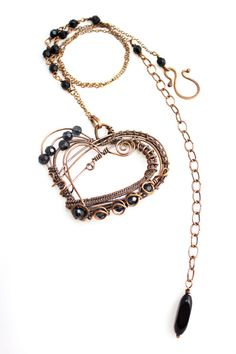 Dualism of Love - handmade wirewrapped copper necklace with black beads