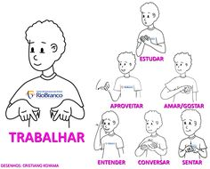 Vamos Aprender Libras? | Centro de Educação para Surdos Rio Branco Sign Language Book, Libra Love, Activities, Education, Signs, Learning, Bob Cut, Curly Blonde, Spanish