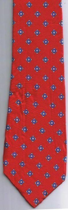 Christian Dior Neck Tie Red Blue Geometric 100% Italian Silk Made in USA
