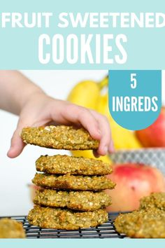 Fruit Sweetened Cookies - a simple easy healthy recipe made with banana applesauce and oatmeal. This kid-friendly cookie recipe is wheat-free nut-free and dairy-free! Perfect for lunchboxes snacks and even an on the go breakfast! Healthy Homemade Snacks, Healthy Cookies, Easy Healthy Breakfast, Healthy Snacks For Kids, Healthy Baking, Easy Healthy Recipes, Kid Snacks, Breakfast Fruit, Healthy Treats