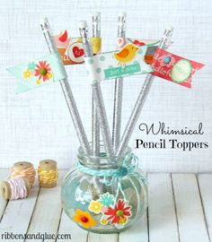 How to make easy Whimsical Pencil Toppers with scrapbooking paper and stickers. Such a cute teacher gift idea!