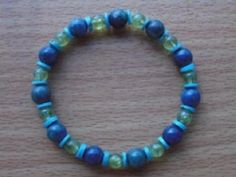 Peridot Turquoise and AzuriteMalachite Bracelet by Crystalcures4u, $44.00