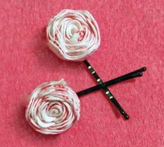 Super easy bobby pins...probably could put them on little barrettes or ribbon covered alligator clips, too!