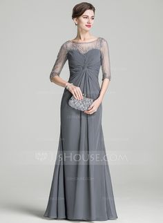 A-Line/Princess Scoop Neck Floor-Length Chiffon Mother of the Bride Dress With Ruffle Beading Sequins (008072716)