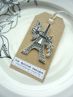 Pretty Eiffel Tower and Flowers Shrink Plastic Brooch