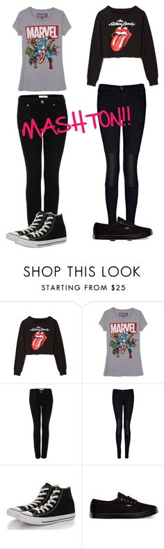 """MASHTON!!"" by lula-pollastri ❤ liked on Polyvore featuring Forever 21, Topshop, J Brand, Converse and Vans"