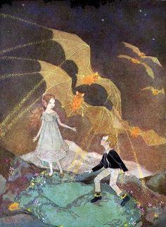 Illustration from 'Mopsa, The Fairy' (artwork by Dorothy Lathrop) Art And Illustration, Book Illustrations, Street Art, Vintage Fairies, Photo D Art, Fairytale Art, Faeries, Fantasy Art, Book Art