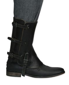 Spats for the serious gent! Black leather equestrian gaiters, originally issued to Swiss Army and offered to you in good used condition.