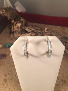 Sterling Silver Fire Opal Zuni Hoops   eBay