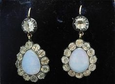 A Magnificent Pair Of Georgian Opalite & White Paste Earrings Circa 1790's