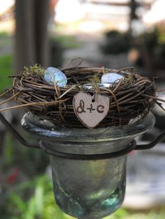 The nest that my ring bearer (nephew) carried.