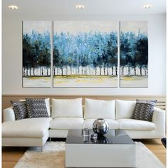 Hand-painted 'Mysterious Forest' 3-piece Gallery-wrapped Canvas Art Set