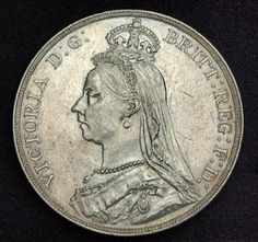 English Silver Crown, Queen Victoria 1889 Coins of Great Britain Rare Gold, Silver and Copper Coins and Currency Bullion Coins, Silver Bullion, Old British Coins, English Coins, Gold And Silver Coins, Silver Bars, Foreign Coins, Coin Display, Antique Coins