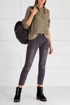 Джинсы с разрывами One Teaspoon - Серые джинсы с декоративными разрывами и потертостями из коллекции бренда One Teaspoon в интернет-магазине модной дизайнерской и брендовой одежды