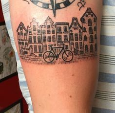 Post with 0 votes and 171 views. Amsterdam by Martijn Minnen. Neue Tattoos, Bad Tattoos, Body Art Tattoos, Small Tattoos, Sleeve Tattoos, Tatoos, Windmill Tattoo, Dutch Tattoo, Building Tattoo