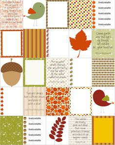 FALL ACORNS BIRDS Leaves Erin Condren (Vertical) Planner Stickers - digital - INSTANT DOWNLOAD by LiveLoveLatte on Etsy