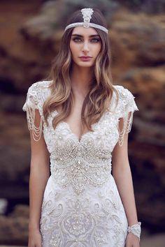 Anna Campbell Sierra Dress | Vintage inspired embellished wedding dress