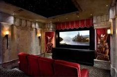 Gorgeous Archaic Style Home Theater Room Interior Design With Marble Wall And Red Sofa Seat Also Awesome Dragon Sculpture Ornament And Fancy Ceiling Decoration - Use J/K to navigate to previous and next images Home Theatre Room Design, Home Theater Curtains, Home Theater Rooms, Cinema Room, Room Interior Design, Design Interiors, Star Ceiling, Ceiling Decor, Ceiling Design