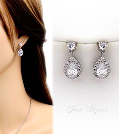 Wedding Earrings Platinum plated Zirconia Earrings Wedding