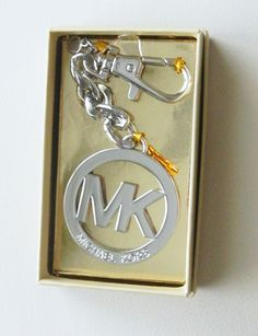 New Michael Kors Signature Charm Key Chain/Ring Silver with Gift Box #MichaelKors