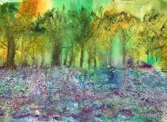 Bluebell Wood Abstract Art - Watercolour and Mixed Media Original Art