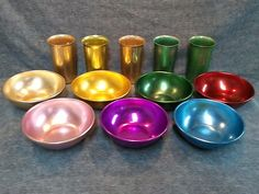 Vintage Retro Bascal Aluminum Colored Bowls & Sunburst Tumbler Cups. They are such fun to eat and drink from!