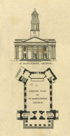 St Marylebone parish church from Plans  Elevations Of The Public Buildings  In The Borough Of St. Marylebone 1834 © Copyright MAPCO 2007