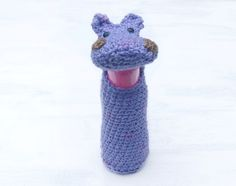 Hippo Bottle cozy Baby bottle sleeve For kids Crochet cozy Water bottle cover Animal shaped cozy Violet hippo Funny For animal lovers - pinned by pin4etsy.com