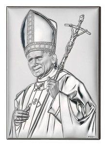 Srebrny obrazek Beatyfikowany Papież Jan Paweł II, stanowi doskonały prezent dla dziecka z okazji I Komunii Świętej. #chrzest #bierzmowanie #slub
