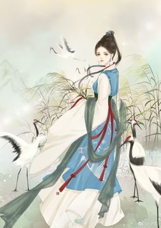 Chinese Drawings, Art Drawings, Chinese Painting, Chinese Art, Chinese Cartoon, Ancient Beauty, Painting Of Girl, Creative Pictures, Human Art