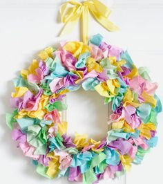 Love the colors! Bright #fabric wreath for spring. So easy and cute! Full instructions!
