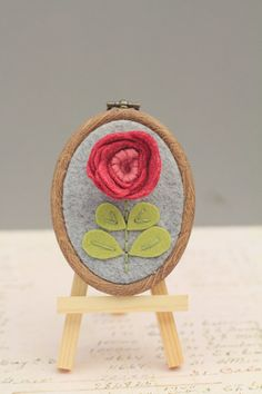Mini Embroidery Hoop Art. Red Rose Dimensional Flower 2.5 -inch. Wall Ar or Ornament by Catshy Crafts