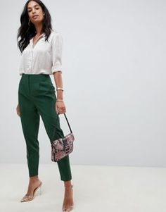 9a7fa11e643 ASOS DESIGN mix   match high waist cigarette pants at asos.com. Office Looks Business Professional OutfitsProfessional ...
