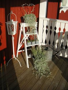 Old ladder outside porch flower Whitewashed Chippy Shabby chic French country rustic Swedish decor idea