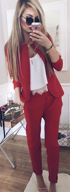 all red everything classy wuit with a white blouse