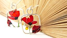Red Poppies Silver Earrings Red Earrings by KUKLAstudio on Etsy - amazing Red Earrings, Pearl Drop Earrings, Flower Earrings, Flower Jewelry, Golden Earrings, Chandelier Earrings, Hoop Earrings, Art Nouveau, Red Jewelry
