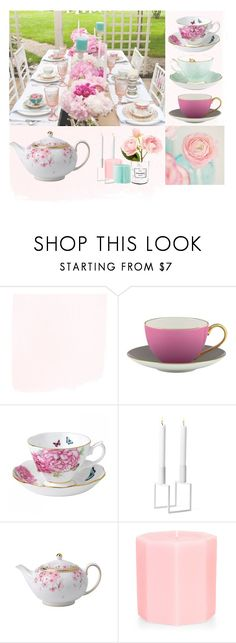 """""""Tea Time"""" by my-style-xo ❤ liked on Polyvore featuring interior, interiors, interior design, home, home decor, interior decorating, Kate Spade, Royal Albert, Wedgwood and Chanel"""