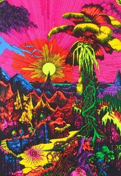 23 x velvet black light poster. Take a trip with the psychedelic eat me mushroom fuzzy velvet black light poster. Tachisme, Psychedelic Art, Art Hippie, Lost Horizon, Acid Art, Trippy Wallpaper, Black Light Posters, Psy Art, Kunst Poster
