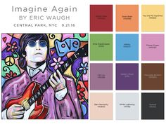 "The Peace Palette, 12 handpicked colors that never meant so much. To honor International Peace Day, Guinness World Record holder, New York artist Eric Waugh, unveiled his tribute to John Lennon's iconic song ""Imagine"" using Valspar Optimus paint donated by Ace Hardware. Imagine Again."