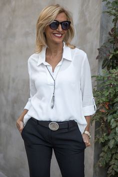 New blog story featuring our White Shirt with Roll up sleeves and Gunmetal and Pearl Y necklace both available in our shop www.jacketsociety.com