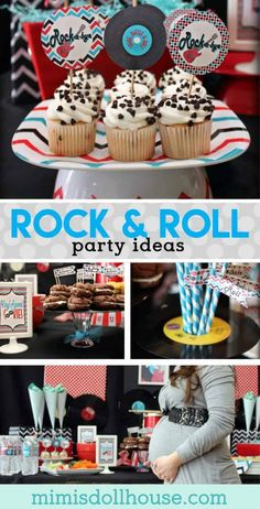 Rock n Roll Baby Shower: Rockabye Baby Throwing a baby shower? How about having a rocking good time with this rock & roll baby shower. This rock n roll shower is full of rock party ideas vi. Music Party Decorations, Baby Shower Decorations, Party Themes, Party Ideas, Diy Party, Diy Ideas, Theme Parties, Food Ideas, Rock Baby Showers