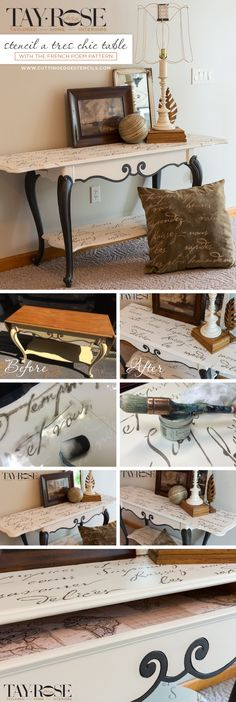 Cutting Edge Stencils shares a DIY stenciled sofa table using the French Poem Allover Stencil.  http://www.cuttingedgestencils.com/french-poem-typography-letter-stencil.html?utm_source=JCG&utm_medium=Pinterest&utm_campaign=French%20Poem%20Allover%20Stencil