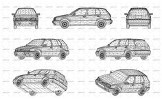Wireframe design of modern car. Front, side, back and axonometric views. Vector illustration of isolated objects over blue background.