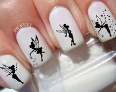 Tinkerbell Fairy nail decals, very pretty, bright stickers with unique designs. Tinkerbell Fairy nail stickers made on high quality decal paper. These decals can be applied to any type of nails (regular polish, soak off gel, hard gel and acrylic). Minx Nails, Gel Nails, Acrylic Nails, Stiletto Nails, Nail Manicure, Coffin Nails, Nail Art Stickers, Nail Decals, Nail Art Disney