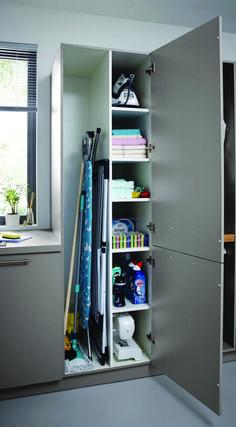 Small Utility Room, Utility Room Storage, Utility Room Designs, Utility Closet, Laundry Storage, Laundry Room Organization, Ikea Utility Room, Cleaning Cupboard Organisation, Utility Room Ideas