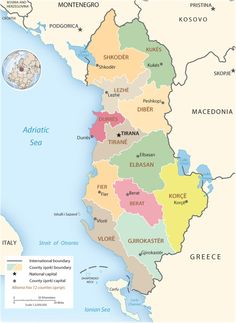 Political Map of Albania. Albania, officially known as the Republic of Albania, is a country in Southeastern Europe. It is bordered by Montenegro to the northwest, Kosovo to the northeast, the Republic of Macedonia to the east, and Greece to the south and southeast. It has a coast on the Adriatic Sea to the west and on the Ionian Sea to the southwest.