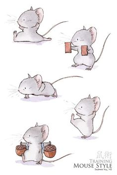 I hadn't seen these illustrations when I wrote Mrs. Middlejoy and the Haunted Castle. So I can't say that they inspired my writing THEN. But I'll never be able to write about mouse martial arts again without thinking of these beautiful drawings. Beautiful Drawings, Cute Drawings, Arte Sketchbook, Poses References, Cute Mouse, Children's Book Illustration, Animal Drawings, Cute Art, Illustrators