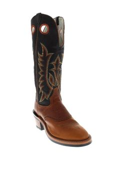 Tony Lama Men's Sunset Brown Renegade Foot Black Shaft Buckaroo Boots - Western, cowboy, ranch, rodeo, roping